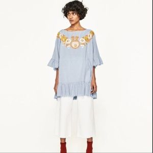 ZARA gingham embroidered tunic top